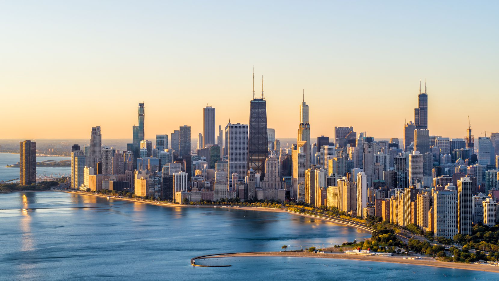 An aerial view of Chicago's Lake Shore Drive at sunrise in October 2019.