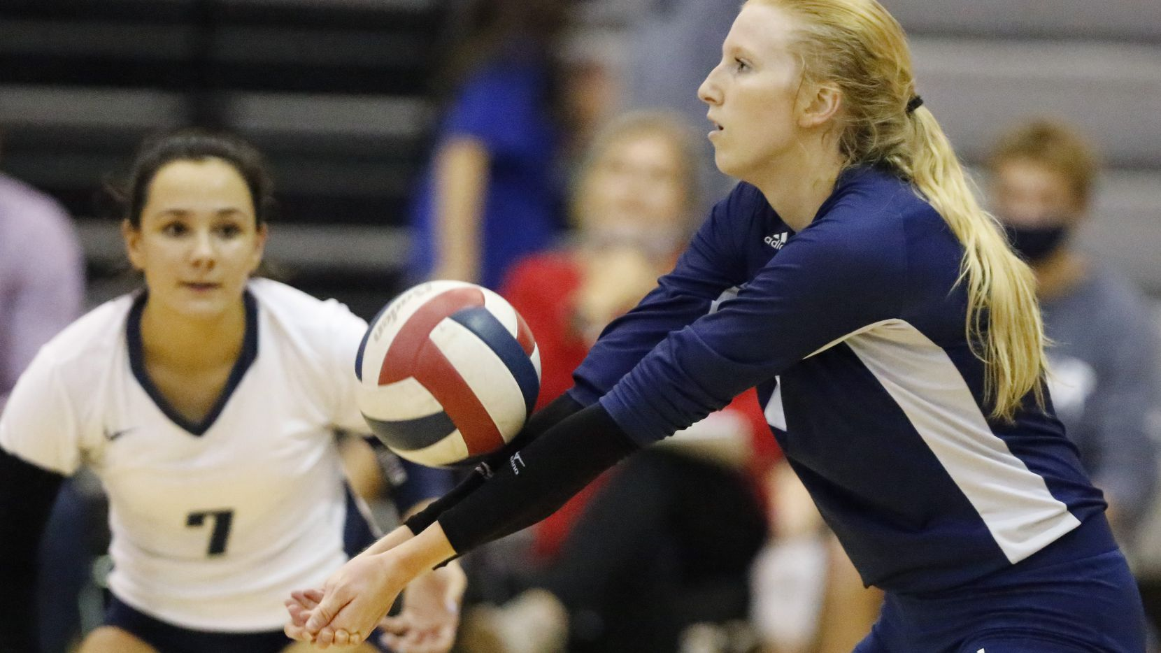 Flower Mound High School outside hitter Kaylee Cox (6) makes a pass during game two as Denton Guyer High School hosted Flower Mound High School on Tuesday, September 22, 2020.