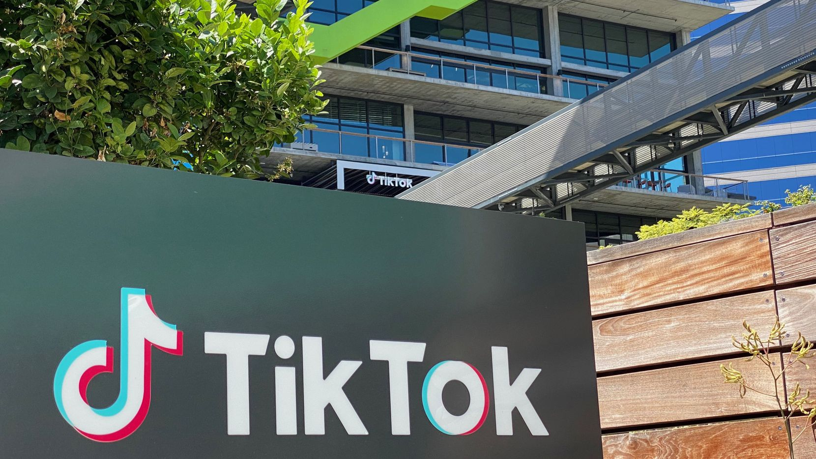 This photo taken on Aug. 11 shows the logo of Chinese video app TikTok ion the side of the company's new office space at the C3 campus in Culver City, Calif.