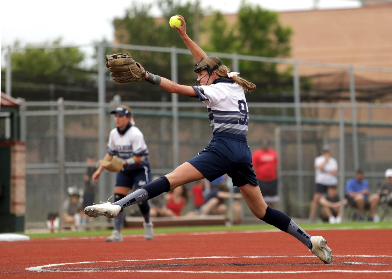 Flower Mound High School player #9, Abigail Jennings, pitches during a softball game against Allen High School at Allen High School in Allen, TX, on May 14, 2021. (Jason Janik/Special Contributor)