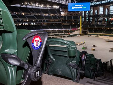 Seats have the Texas Rangers logo inside the new Globe Life Field on Wednesday, March 11, 2020 in Arlington. (Ashley Landis/The Dallas Morning News)