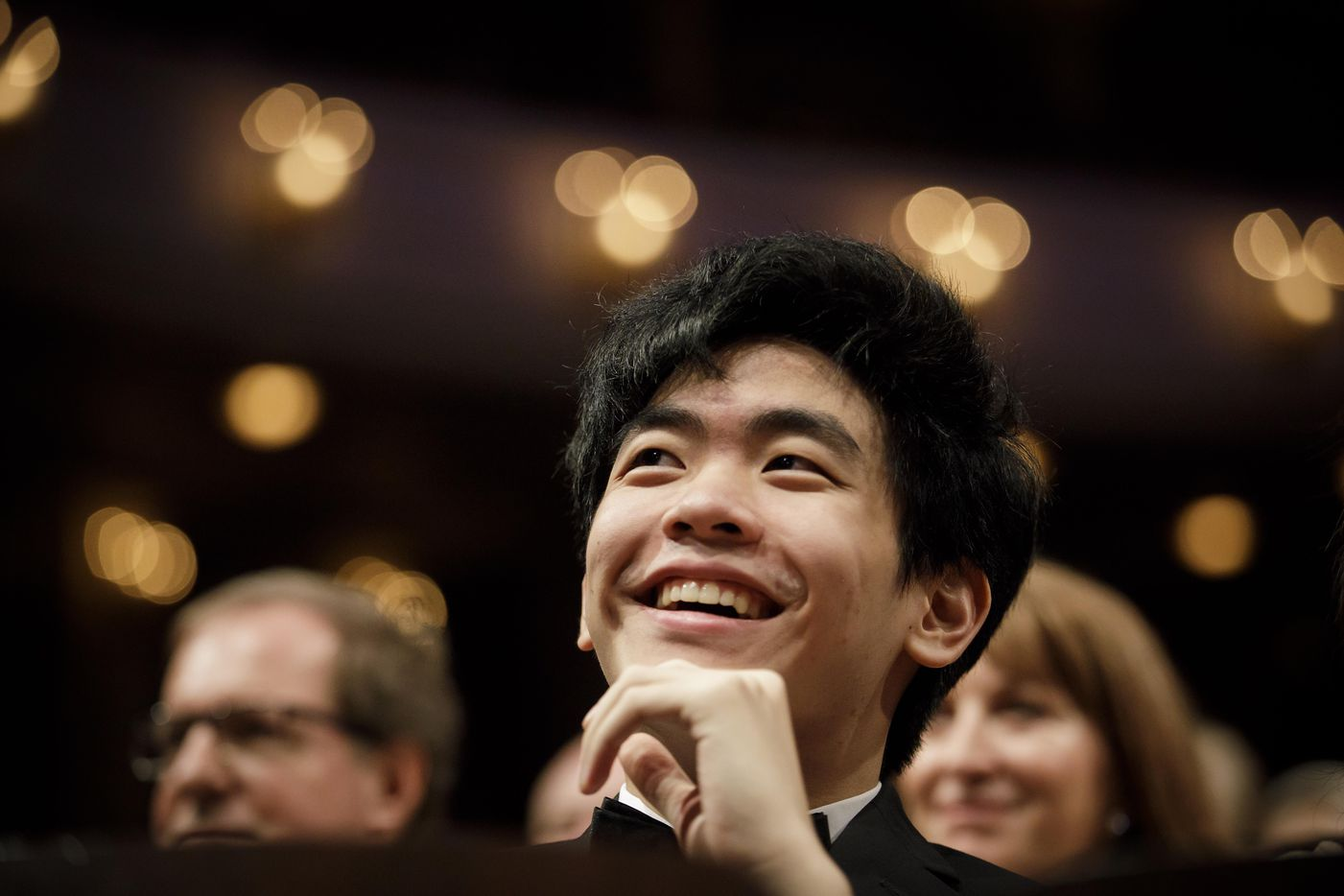 Bronze medalist Daniel Hsu of the USA smiles before the announcement of the winners during the Van Cliburn International Piano Competition awards ceremony at the Bass Performance Hall in Fort Worth on Saturday, June 10, 2017. (Smiley N. Pool/The Dallas Morning News)