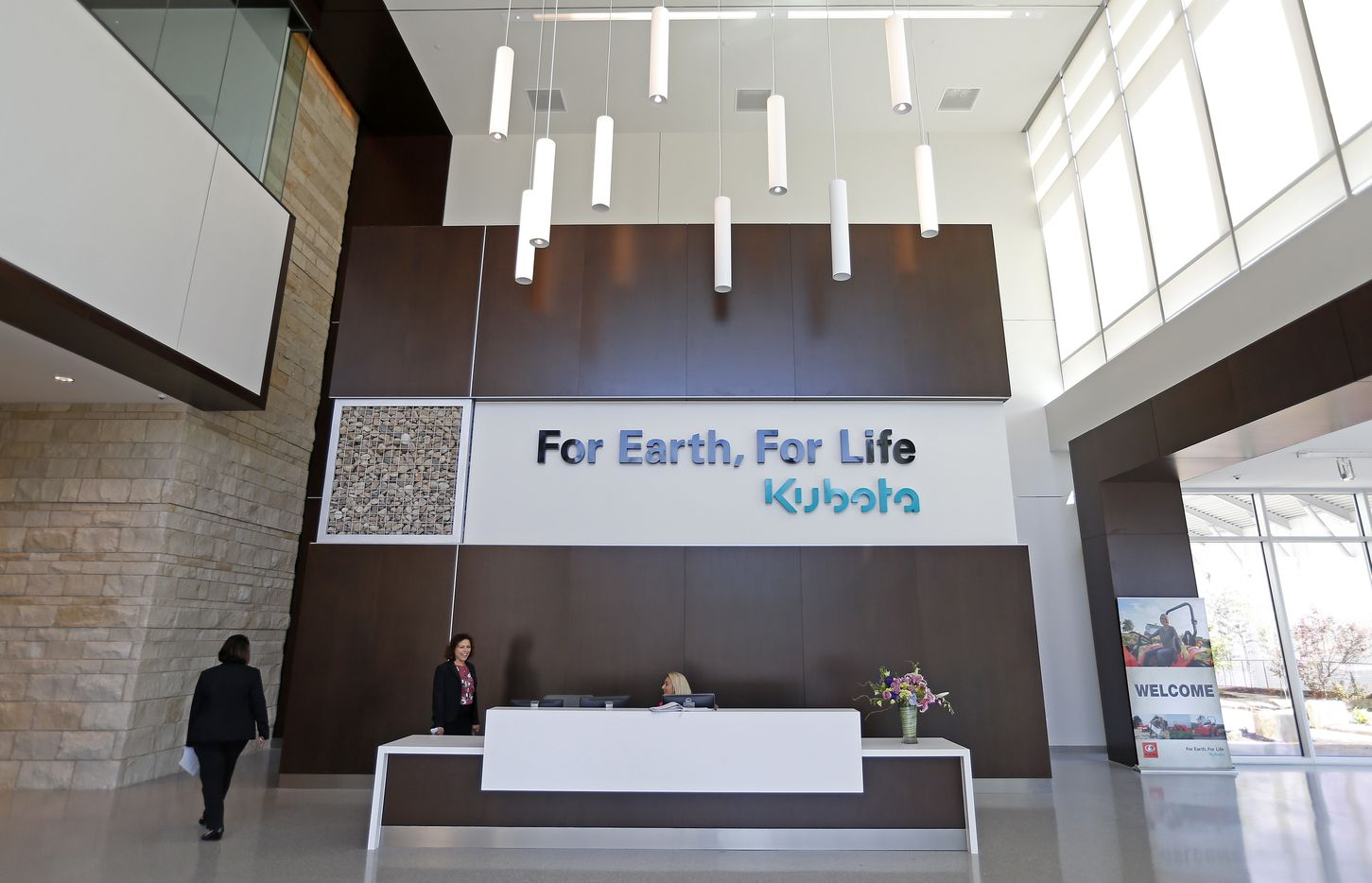 The lobby of the new Kubota Tractor Corp. headquarters in Grapevine.