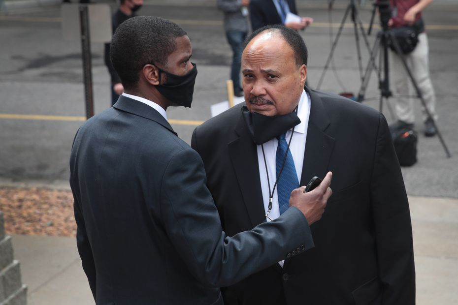 Martin Luther King III (right) attended the memorial service for George Floyd on June 4. (Photo by Scott Olson/Getty Images)
