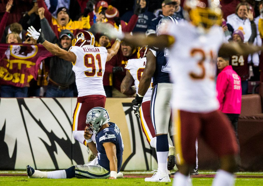 Dallas Cowboys quarterback Dak Prescott (4) reacts after being sacked and losing the ball, resulting in the Redskins recovery and touchdown during the fourth quarter of an NFL game between the Washington Redskins and the Dallas Cowboys on Sunday, October 21, 2018 in Landover, Maryland. (Ashley Landis/The Dallas Morning News)