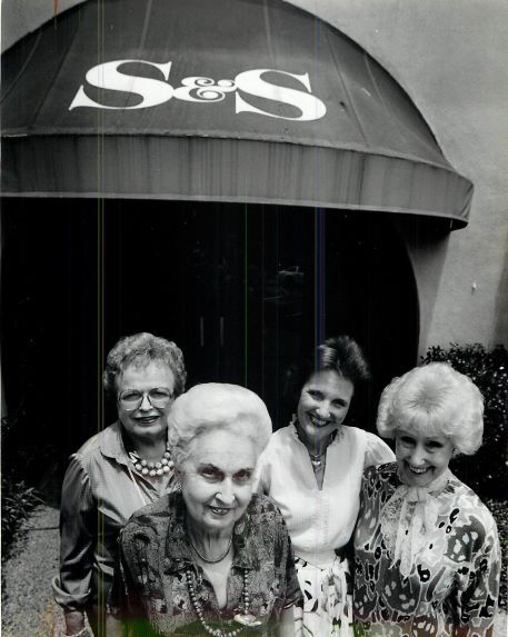 From left: Mrs. David Keener, Mrs. Henry Stone, the owner of S&S Tea Room Barbara Fisher and Mrs. Willis Wade.