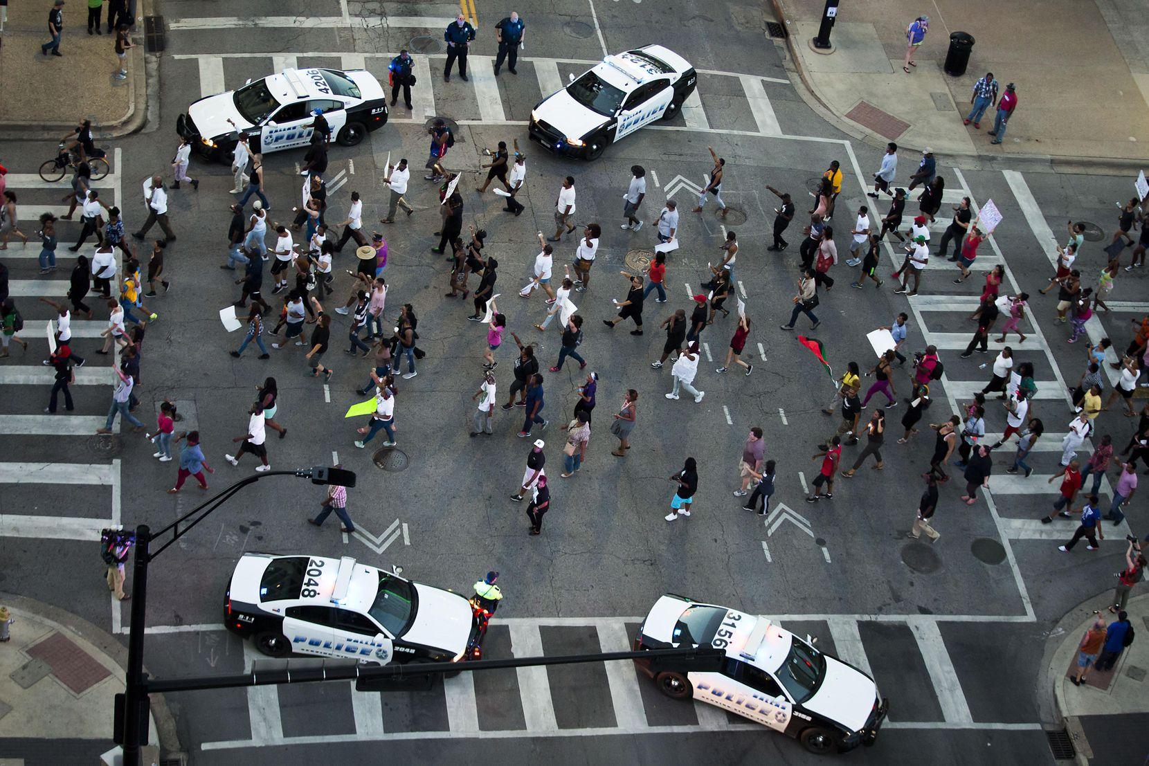 Una vista aérea muestra el final de la marcha de Black Lives Matter. El ataque empezó 10 minutos más tarde. DMN