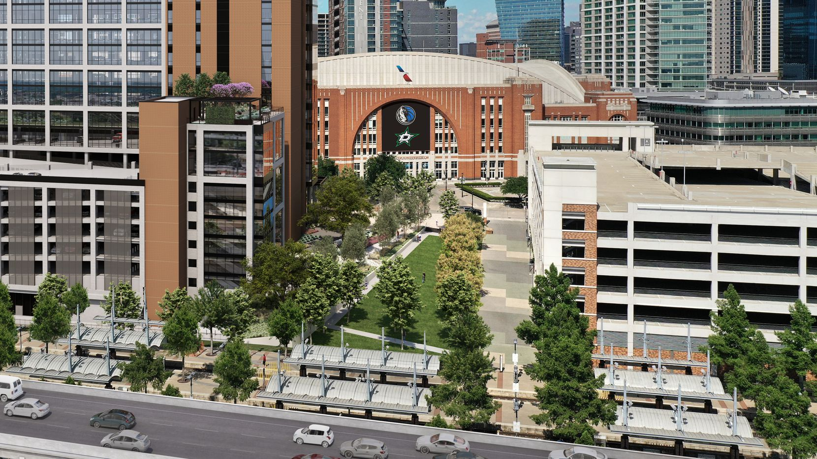 Victory Commons overlooks a new one-acre landscaped plaza in front of the American Airlines Center.