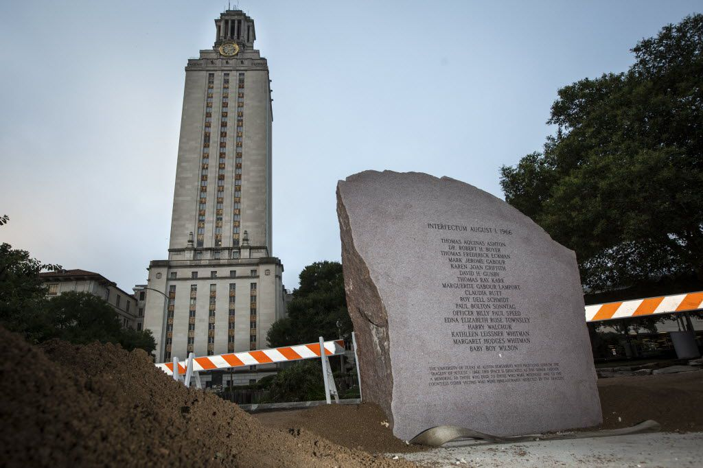 A pink granite memorial bearing the names of those killed by sniper Charles Whitman from atop the clock tower at the University of Texas at Austin in 1966 was unveiled during Monday's ceremony.