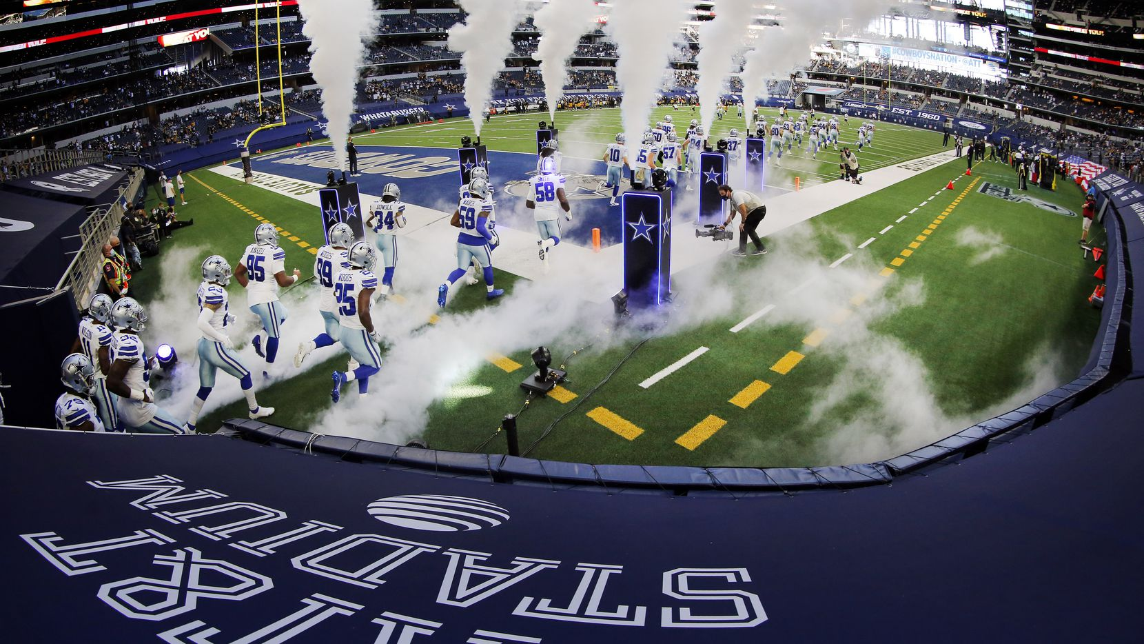 The Cowboys take the field to face the Steelers at AT&T Stadium in Arlington on Sunday, Nov. 8, 2020.