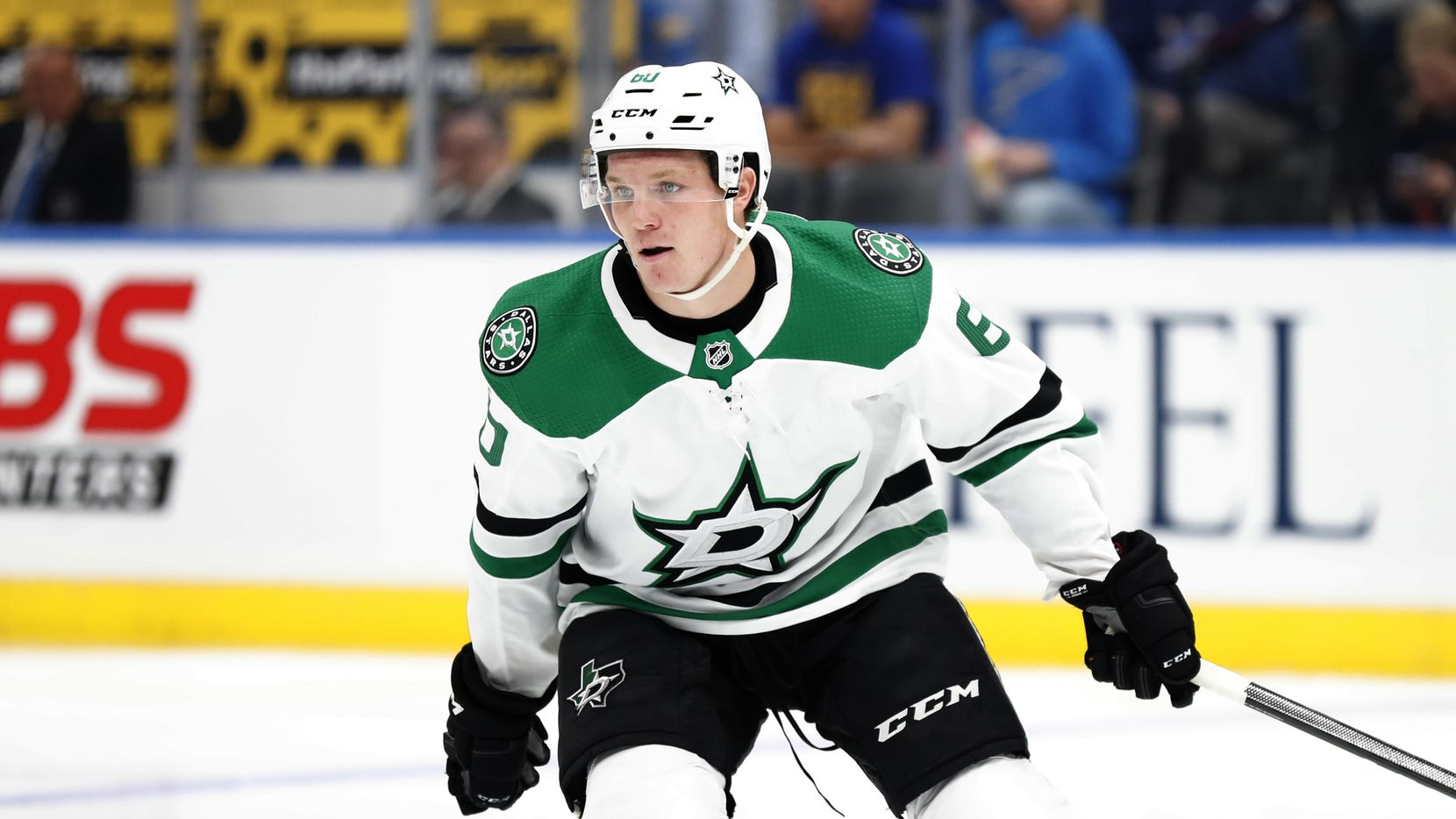 FILE - Stars center Ty Dellandrea skates during the first period of a preseason game against the Blues on Tuesday, Sept. 24, 2019, in St. Louis.