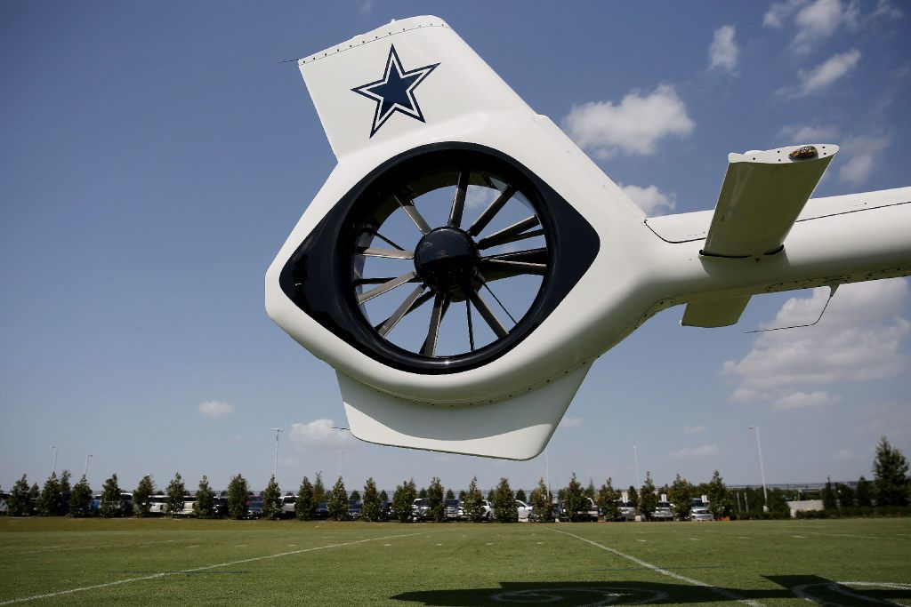 The tail rotor of the Dallas Cowboys' new corporate helicopter.