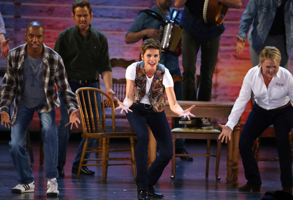 """Jenn Colella and the cast of """"Come From Away"""" perform at the 71st annual Tony Awards on Sunday, June 11, 2017, in New York. (Photo by Michael Zorn/Invision/AP)"""