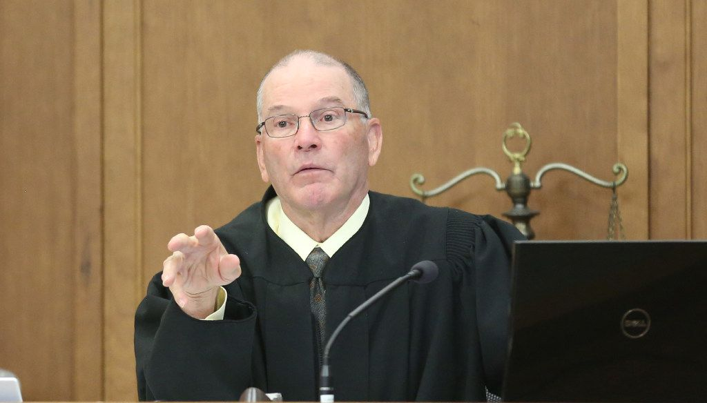 Judge Ben Burgess provides over the preliminary hearing of Yesenia Sesmas. (Bo Rader/Wichita Eagle)