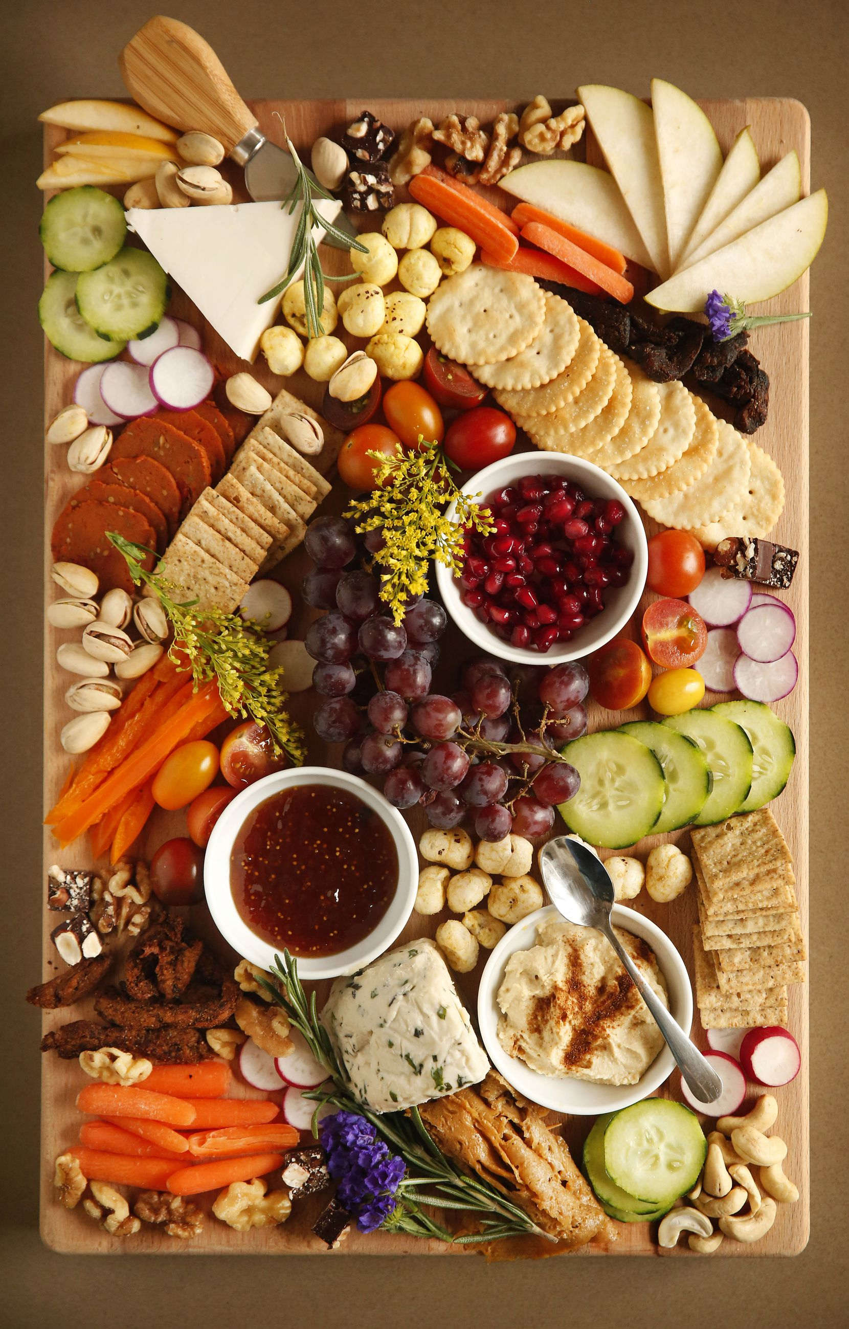 Deric and Brooklynn Cahill plan on selling a large fruit, vegetable, and plant based meat  charcuterie board. It also includes cheeses, nuts and some of their vegan chocolate.