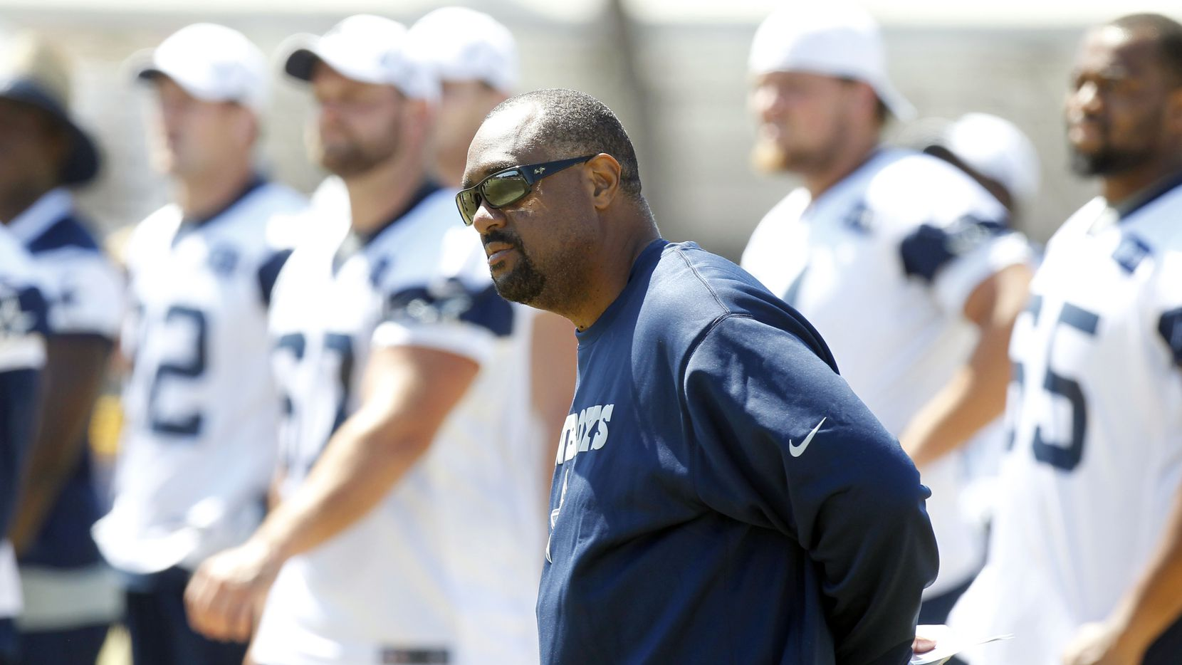 Dallas Cowboys running backs coach Skip Peete watches practice during their walk thru practice at training camp in Oxnard, CA, on Thursday, August 9, 2012.