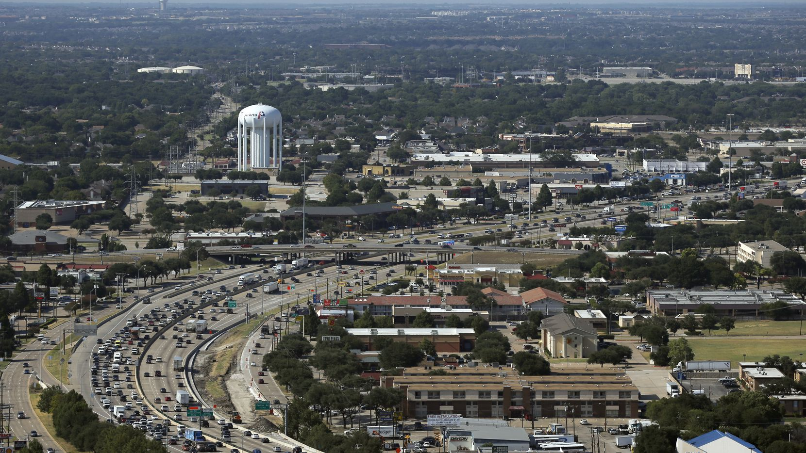 An aerial view of Central Expressway looking northbound in Plano on Thursday, August 11, 2016.