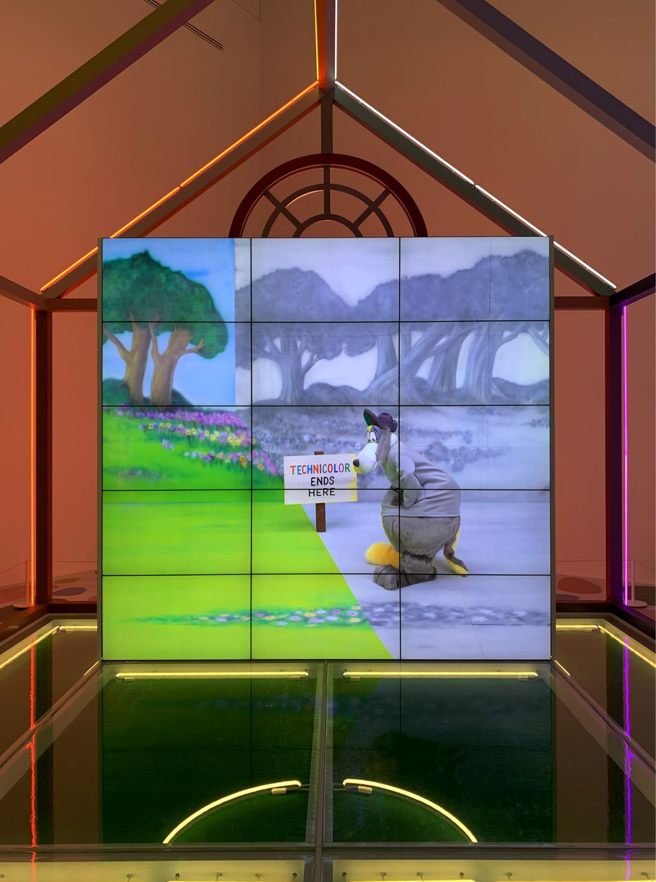 """Alex Da Corte's wild """"Rubber Pencil Devil"""" features an enormous video wall that plays a three-hour montage of clips in which the artist reinterprets TV classics in a madcap spirit."""