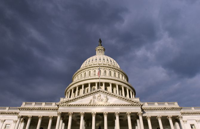Dark clouds pass over the Capitol in Washington on Oct. 1, 2013.