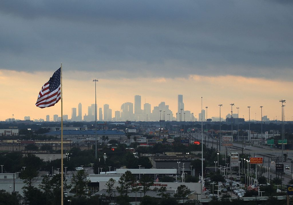 The Houston skyline is seen after the area was inundated with flooding from Hurricane Harvey.