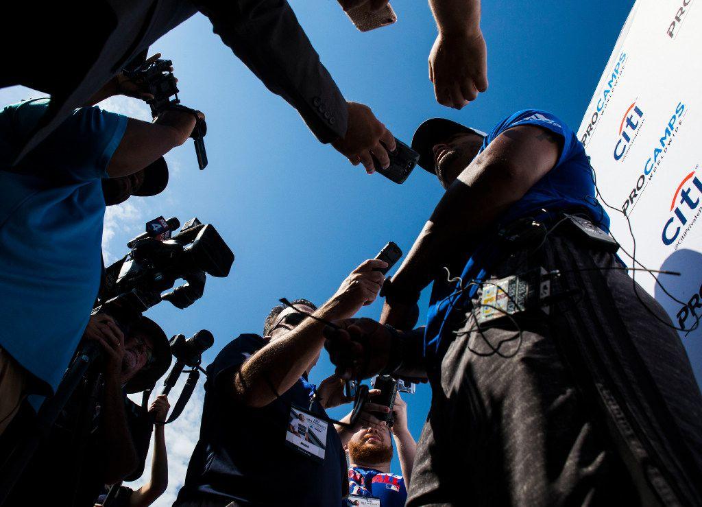 Dallas Cowboys quarterback Dak Prescott speaks to members of the media during The Citi Dak Prescott Football ProCamp on Saturday, June 25, 2017, at Lake Dallas High School in Corinth, Texas. (Ryan Michalesko/The Dallas Morning News)