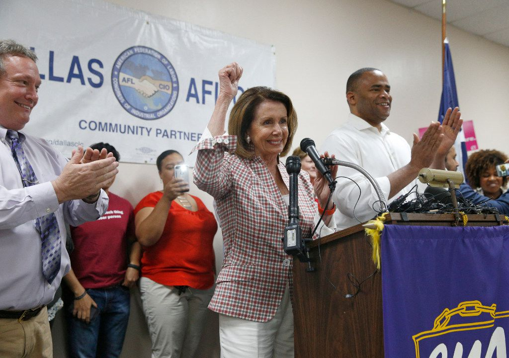U.S. Representative Nancy Pelosi speaks during a rally at CWA Union Hall in Dallas on May 31, 2017.