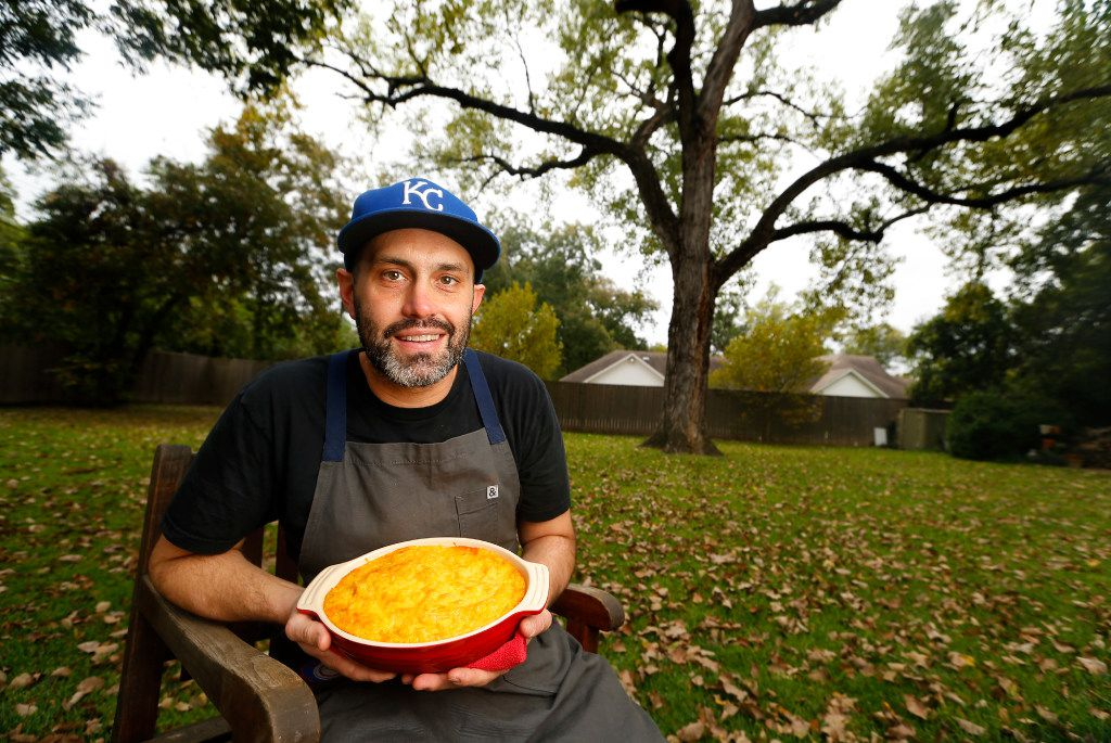 For Thanksgiving, pitmaster Matt Dallman of 18th & Vine sets up tables under his old cottonwood tree in the backyard of his Dallas home.