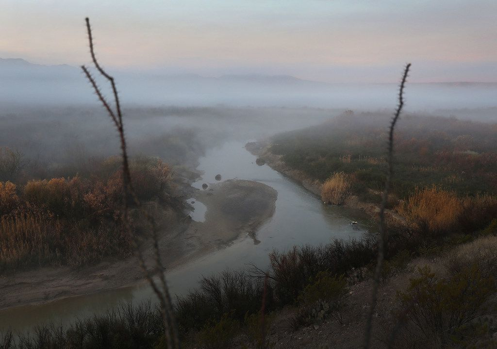 The Rio Grande marks the boundary between the United States (to the right) and Mexico (to the left).