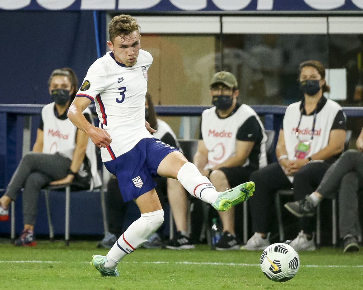USA defender Sam Vines (3) passes the ball during the second half of a CONCACAF Gold Cup quarterfinal soccer match at AT&T Stadium on Sunday, July 25, 2021, in Arlington. (Elias Valverde II/The Dallas Morning News)