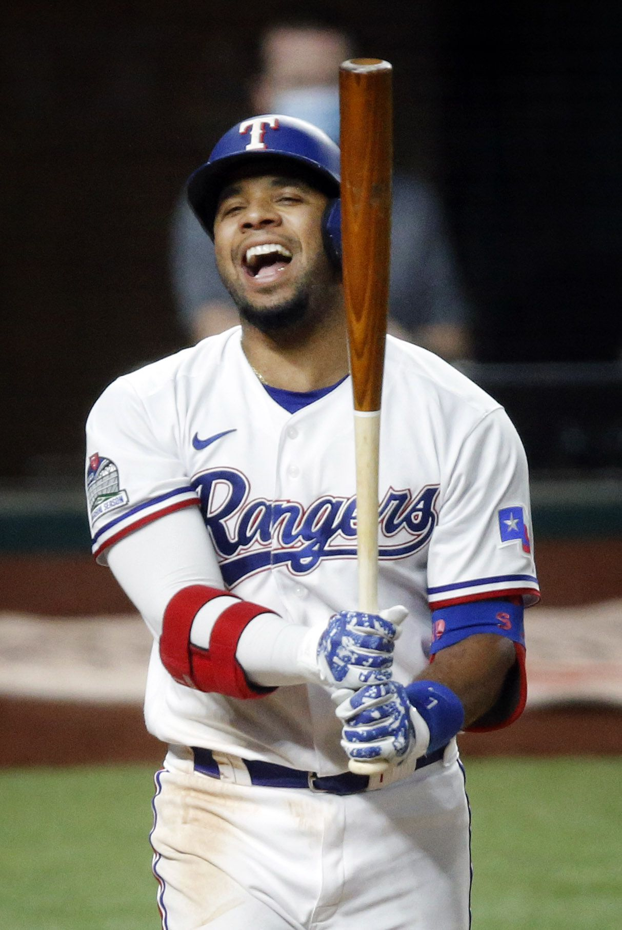 Texas Rangers shortstop Elvis Andrus (1) reacts after striking out against the Los Angeles Angels in the fourth inning at Globe Life Field in Arlington, Texas, Tuesday, September 8, 2020. (Tom Fox/The Dallas Morning News)