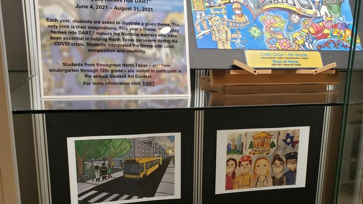 Student paintings, drawings and other designs show a variety of hometown heroes, from doctors and nurses to police and firefighters. The work is on display at Dallas Love Field Airport until Aug. 31.