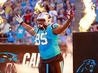 Carolina Panthers nose tackle Dontari Poe (95) is introduced against the New England Patriots during an NFL game in Charlotte, N.C. on Friday, Aug. 24, 2018. (Chris Keane/AP Images for Panini)