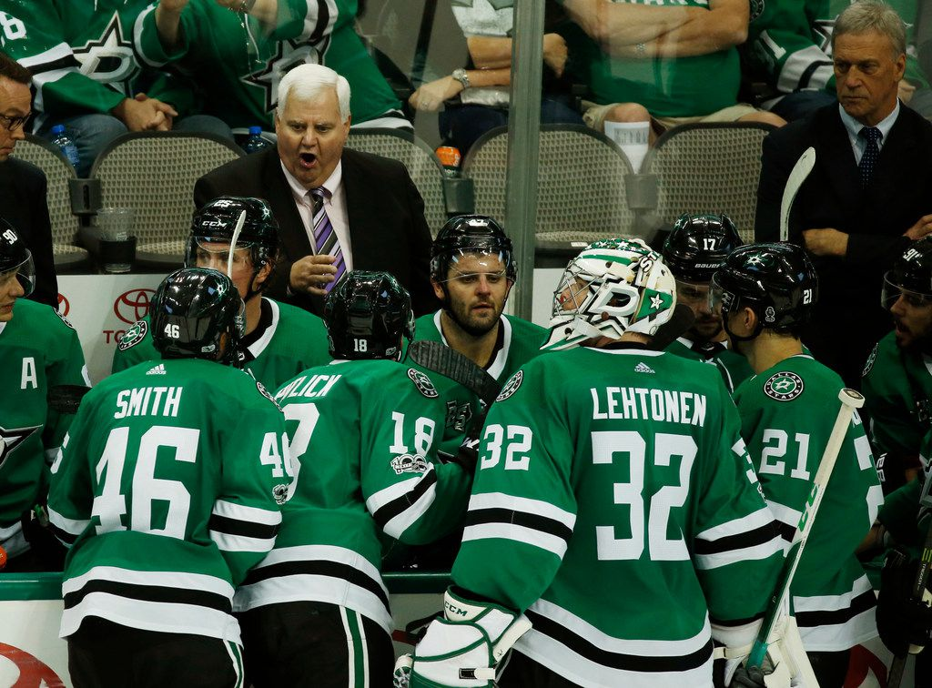 Dallas Stars head coach Ken Hitchcock talks to players in the third period at American Airlines Center in Dallas on Tuesday, Sept. 26, 2017.