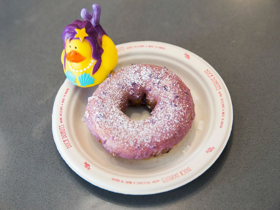 The blueberry icing and powdered sugar on top of a vanilla-cake doughnut makes this Duck Donuts treat taste like a blueberry pancake.