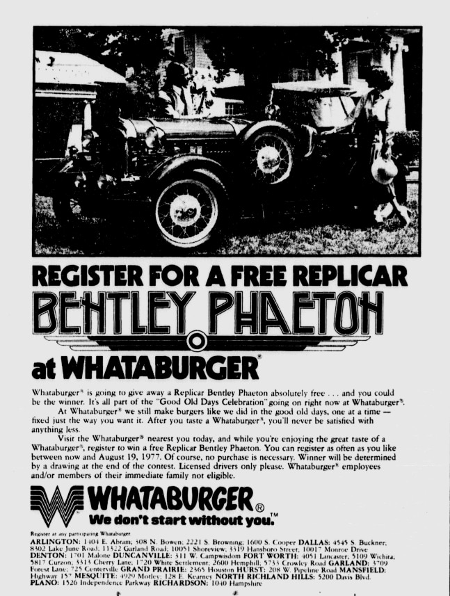 Whataburger advertisement featured in The News on July 17, 1977