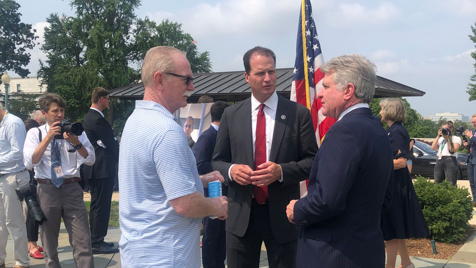 Joey Reed, father of imprisoned former U.S. Marine Trevor Reed, meets with U.S. Reps. Michael McCaul, of Austin, and August Pfluger, of San Angelo. Both Republican lawmakers have been pushing for Reed's release.
