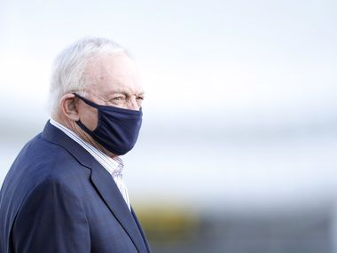Cowboys owner and general manager Jerry Jones makes his way to the practice field during training camp at The Star in Frisco on Friday, Aug. 21, 2020.