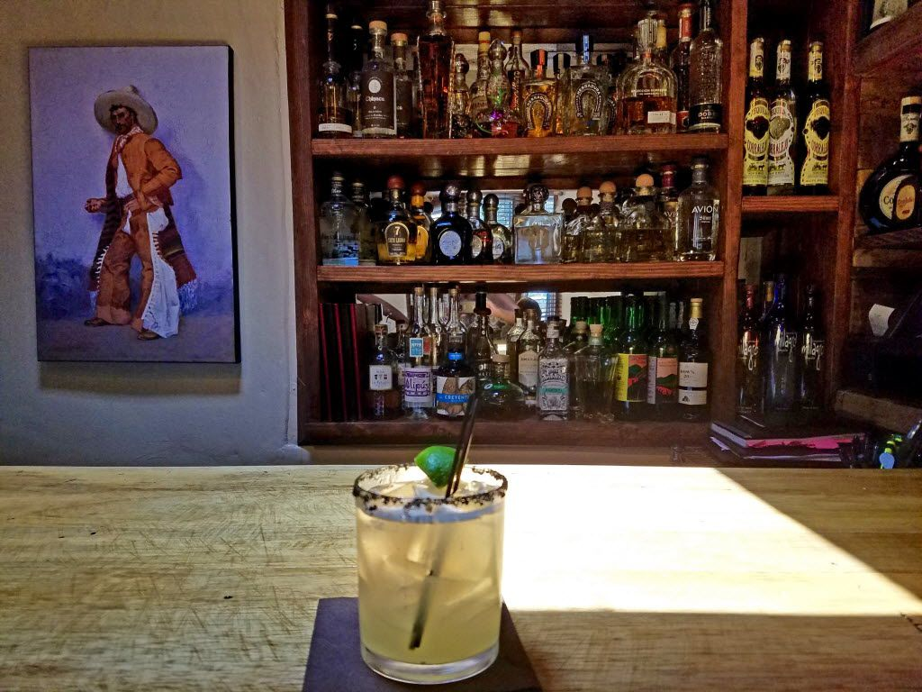 Sazon makes a perfectly tart margarita with just three ingredients: tequila, orange liqueur and lime juice.