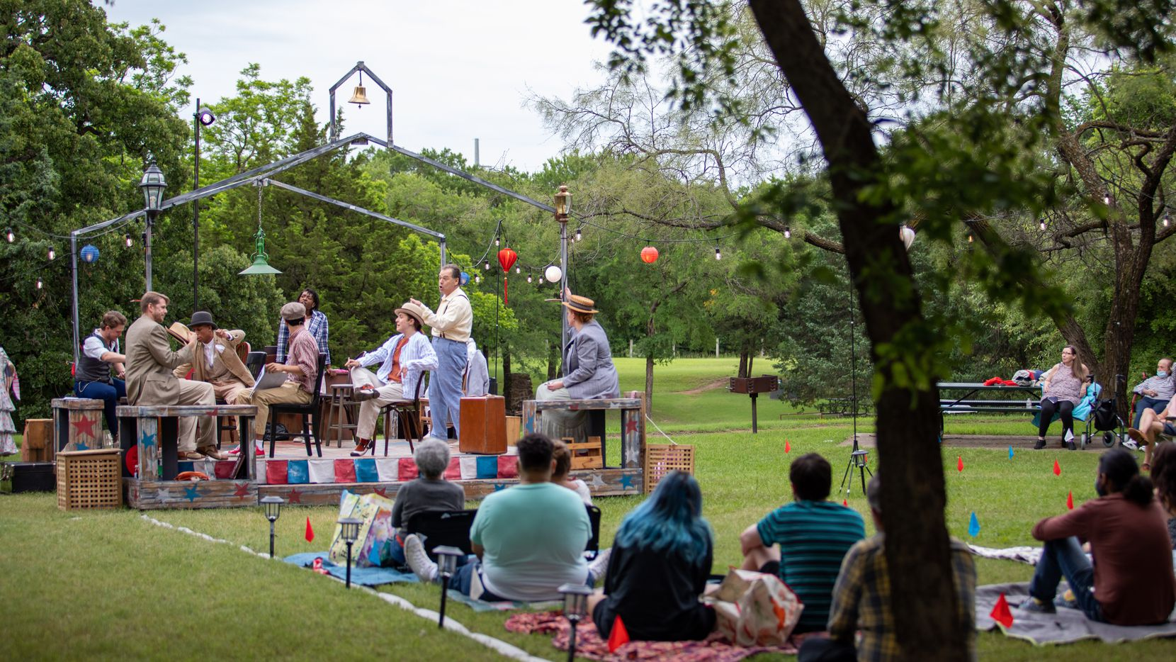 Theatre Three is taking its stripped-down, straw-hat-and-suitcase version of 'The Music Man' to three different outdoor locations around Dallas. Pictured here is the final dress rehearsal on June 2 at the Coppell Senior Center.