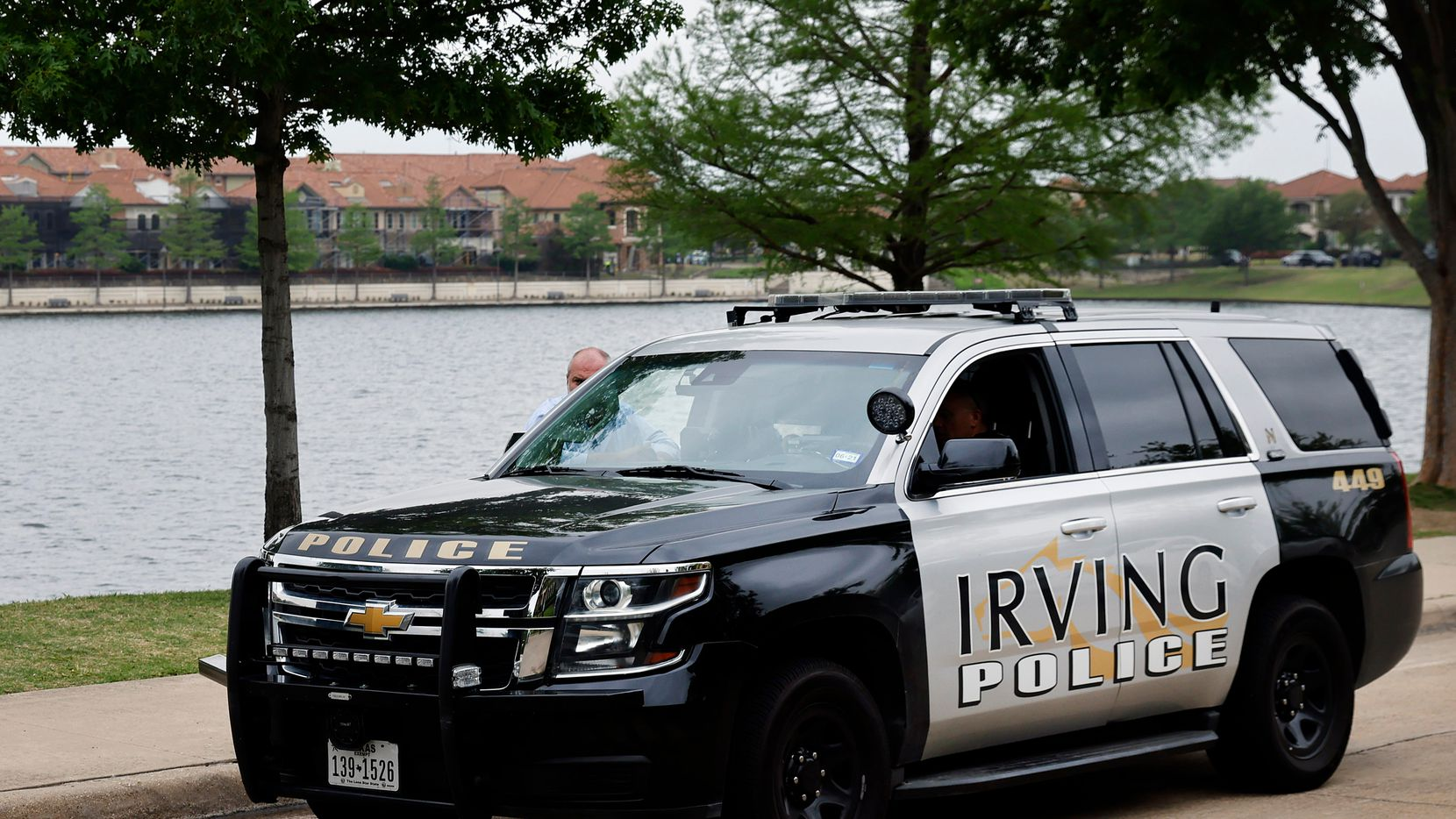 An Irving police vehicle is pictured in this file photo. Police have charged a 15-year-old with threatening to use a firearm following 'terroristic threat' against Nimitz High School.
