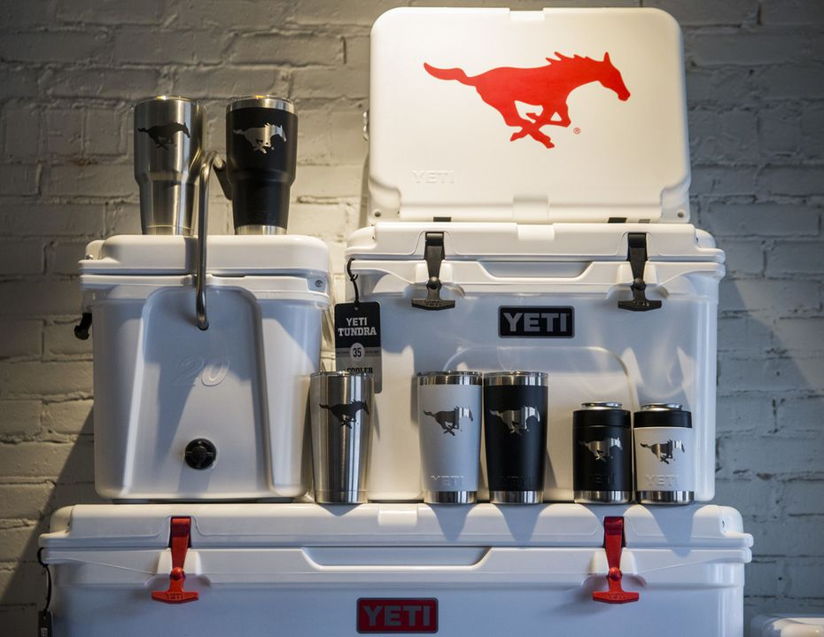 SMU branded products are on display inside a new Yeti store in Dallas. The grand opening will be this Saturday. (Ashley Landis/The Dallas Morning News)