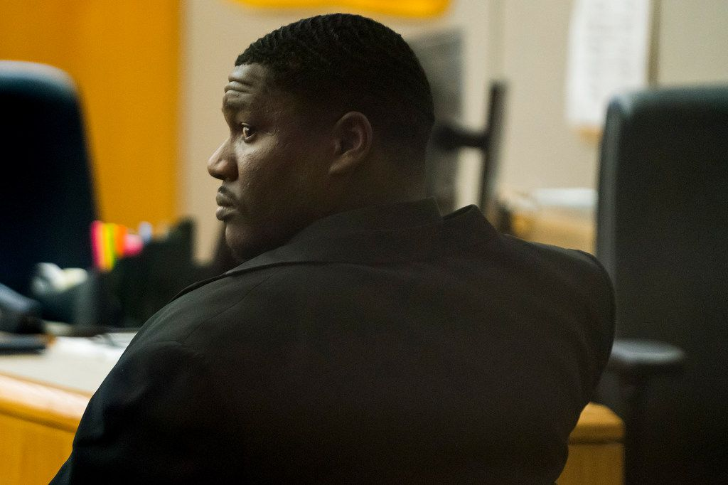 Edward Thomas waits for testimony to begin in his aggravated assault trial in a Dallas County courtroom.