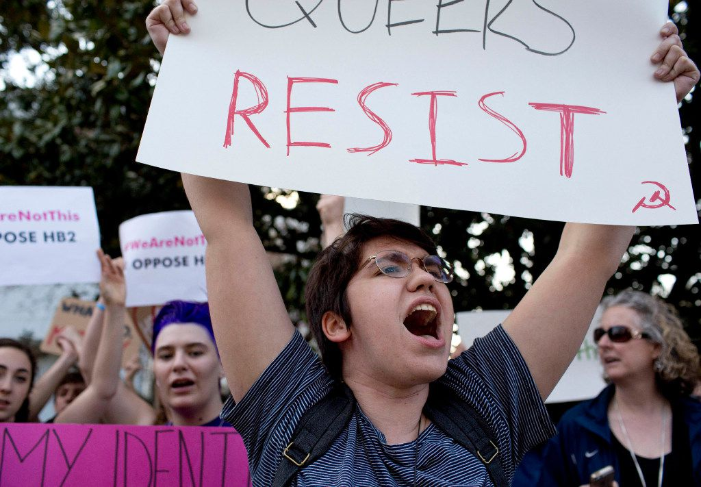 """Duke student Sydney Roberts shouted during a protest against House Bill 2 outside of the Governor's Mansion in  Raleigh, N.C., last year.  North Carolina's """"bathroom bill"""" passed. (Jill Knight/The News & Observer via AP)"""