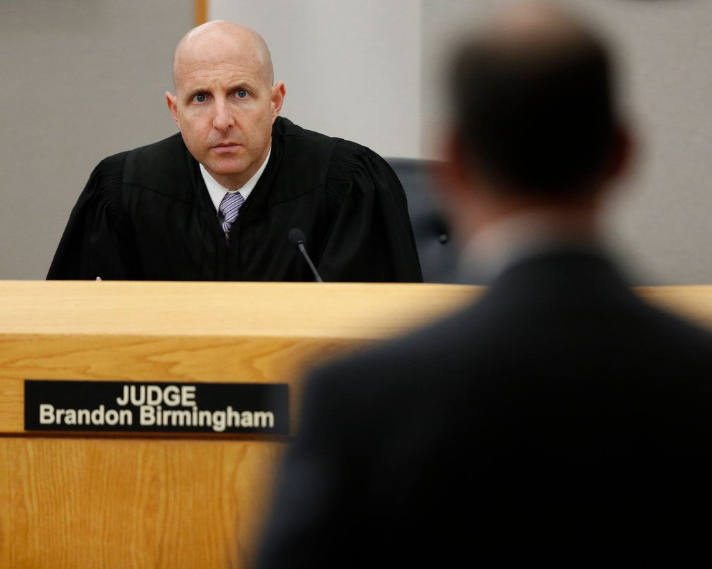 Judge Brandon Birmingham listens to defense attorney Bob Gill during the sixth day of the murder trial of fired Balch Springs police officer Roy Oliver.
