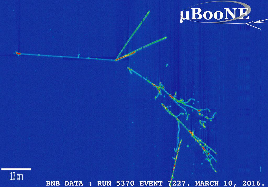 Collection plane view of a neutrino interaction in the MicroBooNE detector from data taken in March 2016. The view is from the side of the detector; the neutrino beam enters from the left.