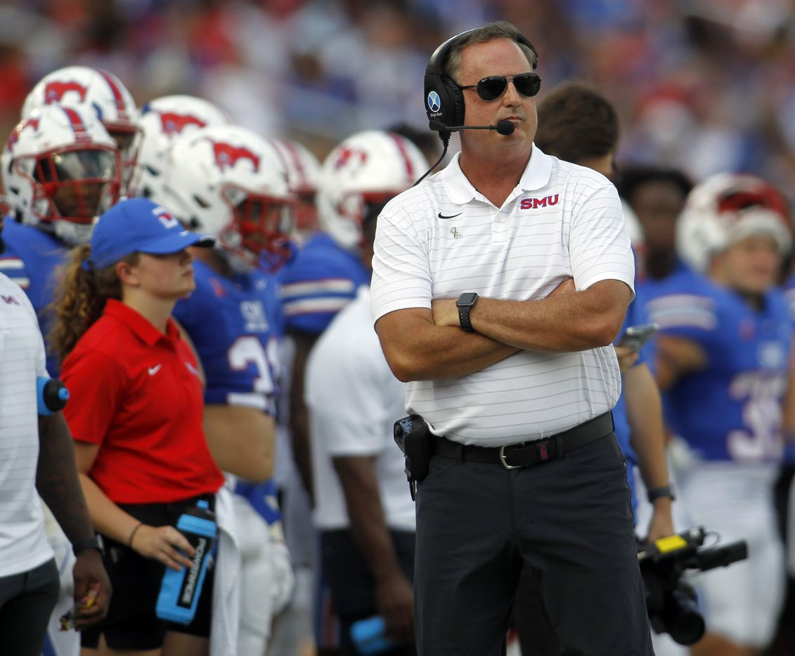 SMU head coach Sonny Dykes looks on from the team bench area during first half action against South Florida. The two teams played their NCAA football game at SMU's Ford Stadium in Dallas on October 2, 2021. (Steve Hamm/ Special Contributor)