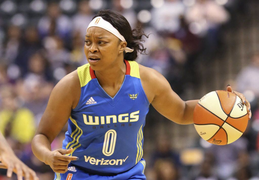 Dallas Wings' Odyssey Sims looks for a teammate to pass to during the team's WNBA basketball game against the Indiana Fever on Saturday, May 14, 2016, in Indianapolis. (Michelle Pemberton/The Indianapolis Star via AP)