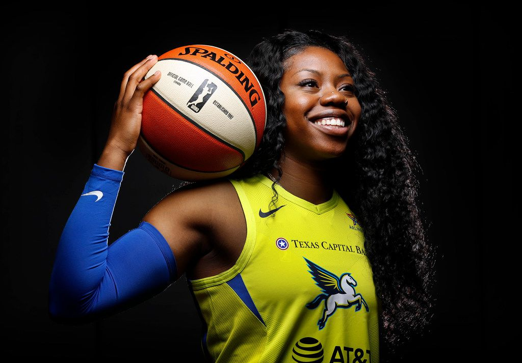 Dallas Wings basketball player Arike Ogunbowale poses for a photo during media day at College Park Center in Arlington, Texas, Monday, May 20, 2019. (Tom Fox/The Dallas Morning News)