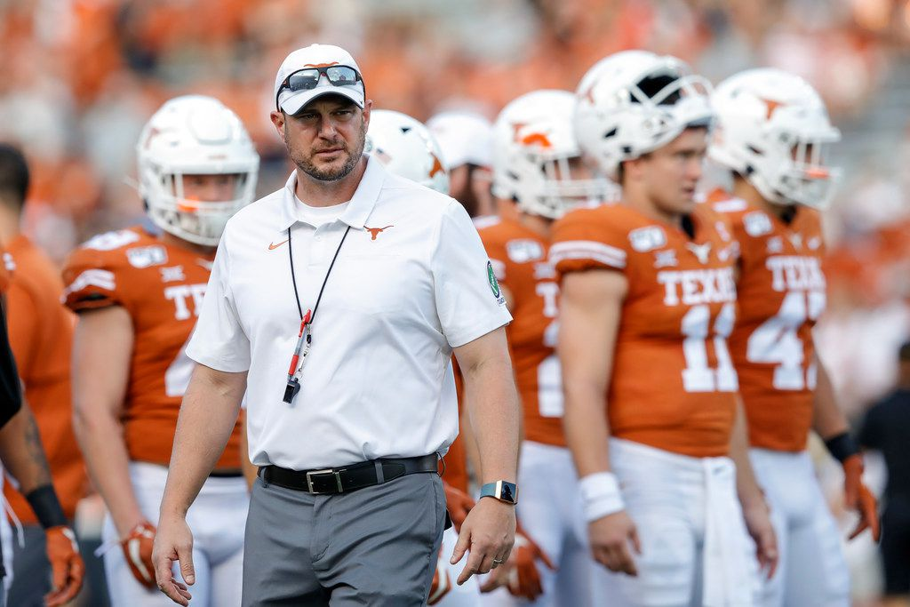 AUSTIN, TX - SEPTEMBER 21:  Head coach Tom Herman of the Texas Longhorns watches players warm up before the game against the Oklahoma State Cowboys at Darrell K Royal-Texas Memorial Stadium on September 21, 2019 in Austin, Texas.
