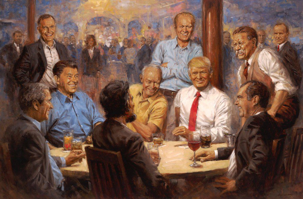 In an image provided by Andy Thomas, a painting shows President Donald Trump sitting among Eisenhower, Nixon, Lincoln, Reagan and other past Republican presidents in a picture that now hangs at the White House, in 2018. Andy Thomas, the 61-year-old artist behind the work, said he received a call a few weeks ago from Trump, who expressed his delight with the painting.